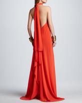 Alexis Jasara Low-Back Halter Maxi Dress
