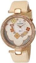Akribos XXIV Women's Lady Diamond Flower Dial Swiss Quartz Leather Strap Watch