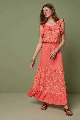 Next Womens Red Ruffle Maxi Dress - Red