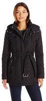 Tommy Hilfiger Women's Quilted Jacket with Tie Waist and Hood