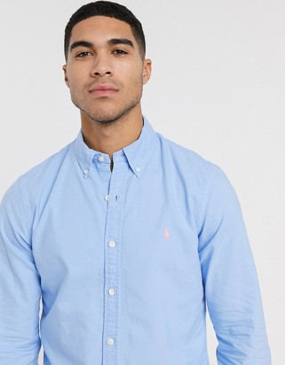 Polo Ralph Lauren slim fit oxford shirt in light blue garment dye with logo
