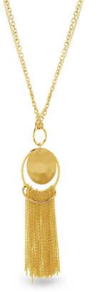 Catherine Malandrino Women Round Hammered Disc Tassel Yellow Gold-Tone Chain Necklace