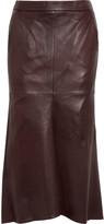 Tibi Asymmetric leather midi skirt