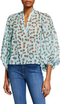 Alice + Olivia Casey Mandarin-Collar Balloon-Sleeve Blouse