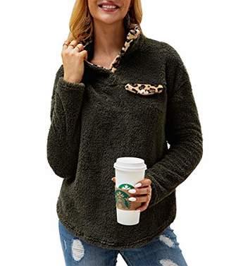 KIRUNDO Women's Fashion High Collar Long Sleeves Sweaters Plaid Print Fleece Button Down Short Sweatshirts with Pockets (