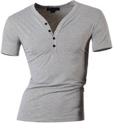 jeansian Men's Slim Fit Short Sleeves Casual Henleys Shirts D204 M
