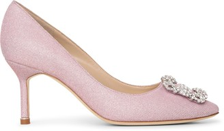 Manolo Blahnik Hangisi 70 light pink glitter pumps