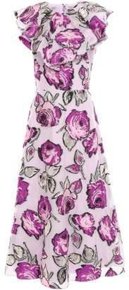 Lela Rose Ruffled Metallic Fil Coupe Organza Midi Dress
