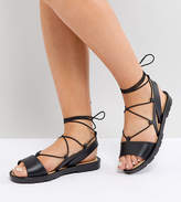 Asos Fizzle Wide Fit Jelly Tie Leg Sandals