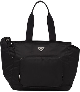 Prada Nylon Logo Plaque Tote Bag