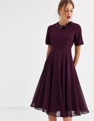 ASOS DESIGN crop top embellished neckline midi dress
