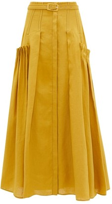 Gabriela Hearst Cyrielle Pleated-panel Aloe-infused Linen Skirt - Yellow