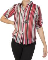 Journee Collection Junior's Striped Button-up Chiffon Top