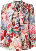 Gucci Hydrangea print ruffled blouse - women - Silk - 40