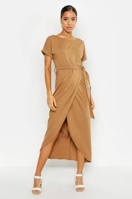 boohoo Wrap T Shirt Maxi Dress