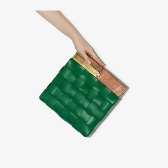 Bottega Veneta green Snap Intrecciato leather clutch bag
