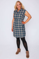 Yours Clothing Blue & Pink Checked Button Through Shirt Dress With D-Ring Waist Tie