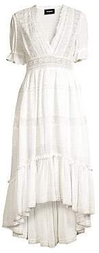 The Kooples Women's V-Neck Lace Trim Midi Dress