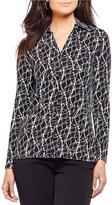 Investments Marble Print Long Sleeve Collar Shirt