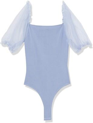 ASTR the Label Women's Short Sheer Puff Sleeve Darling Square Neck Bodysuit