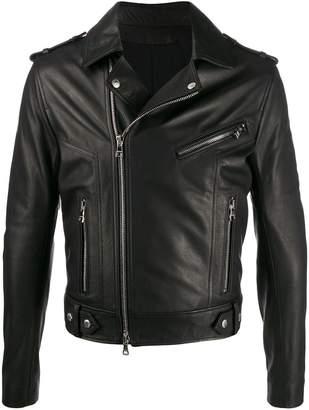 Balmain back logo biker jacket