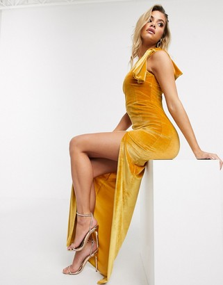 Vesper one shoulder velvet maxi dress in yellow