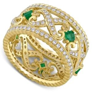 Macy's Emerald (3/8 ct. t.w.) & Diamond (7/8 ct. t.w.) Filigree Openwork Ring in 14k Gold