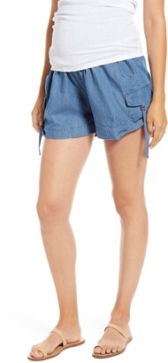 Fourteenth Place Over the Belly Utility Maternity Shorts