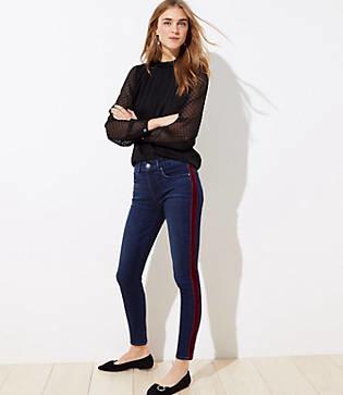 LOFT Velvet Stripe Slim Pocket Skinny Jeans in Rich Dark Indigo Wash