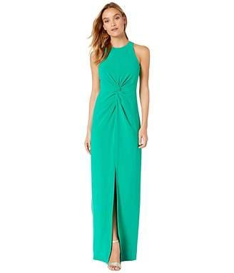 Halston Twist Drape Detail Crepe Gown (Emerald) Women's Dress