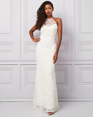 Le Château Embroidered Lace Illusion Halter Neck Gown