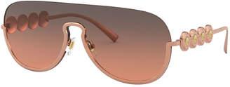 Versace Semi-Rimless Mirrored Shield Aviator Sunglasses
