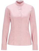 BOSS Slim-fit blouse in stretch poplin with stand collar