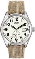 Citizen Bv1080-18a Sport Eco-drive Fabric Strap Watch, Khaki/white