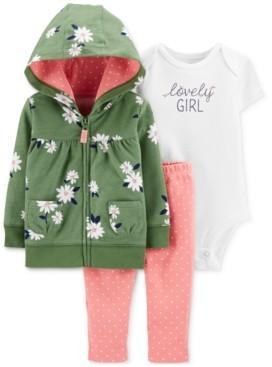 Carter's Baby Girls 3-Pc. Cotton Lovely Girl Hoodie, Bodysuit & Leggings Set