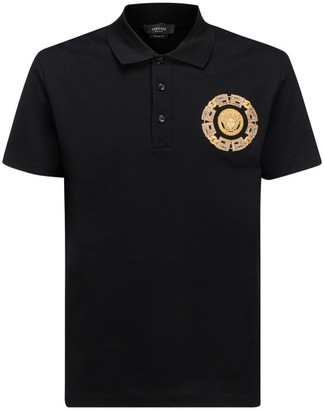 Versace Medusa Chain Embroidered Polo Shirt