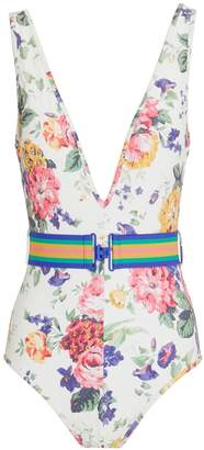 Zimmermann Allia Floral Belted One-Piece Swimsuit