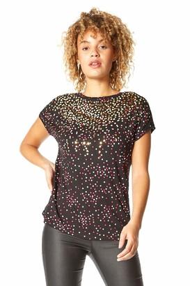 Roman Originals Women Metallic Foil Spot Print T-Shirt - Ladies Smart Casual Day Evening Party Polka Dot Round Neck Short Sleeve Everyday Stretch Jersey Tops - Black - Size 12