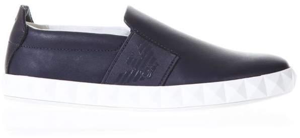 Emporio Armani Blu Cow Leather Slip On Shoes