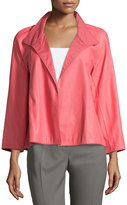Lafayette 148 New York McKenna Crosshatch-Embossed Leather Topper, Coral