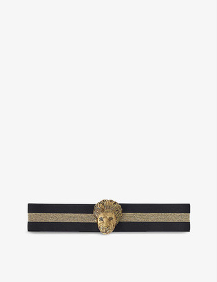 Maje Lion-embellished metallic-striped woven belt