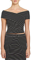 1 STATE Off-the-Shoulder Short Sleeve Striped Top