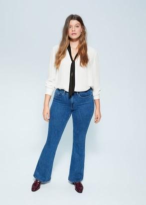 MANGO Violeta BY Tie-neck blouse off white - 10 - Plus sizes