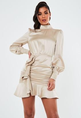Missguided Champagne Ruffle Satin Long Sleeve Mini Dress