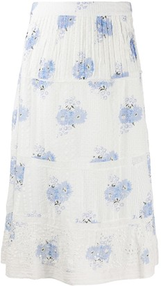 LoveShackFancy Floral Tiered Skirt