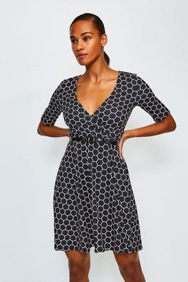 Karen Millen Viscose Jersey Printed Wrap Dress With Belt