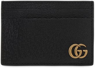 Gucci Logo Leather Money Clip Card Holder