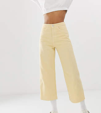 Weekday wide leg cropped jeans in pastel yellow