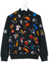 Dolce & Gabbana sports print zipped sweatshirt - kids - Cotton - 4 yrs