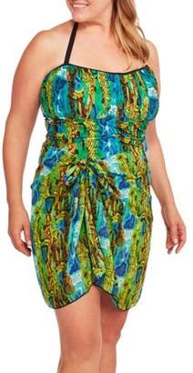 Generic Women's Plus-Size Snakeprint Bandeau Tankini Swimsuit Set with Matching Sarong